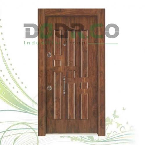 درب ضد سرقت لوکس برجسته روکش گردو کد 1021